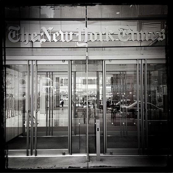 The front doors of The New York Times facing W. 41st St in Manhattan.